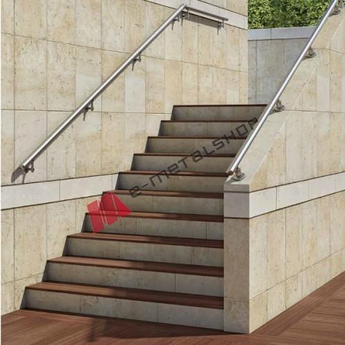 Κουπαστή αλουμινίου τύπου INOX για ράμπες η σκάλες με στηρίγματα Aluminco F50 ( τιμή μέτρου )