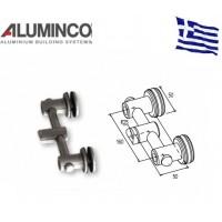 Στήριγμα τζαμιού διπλό 8-10mm κολόνας Φ50 Aluminco F50 4182