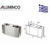 Στήριγμα τζαμιού διπλό 8-10mm για κολώνα F50-103 Aluminco 4192