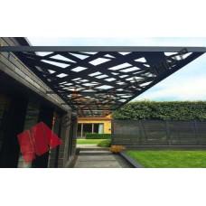 Πέργκολες εξωτερικού χώρου με μαύρη λαμαρίνα (τιμή τ.μ)