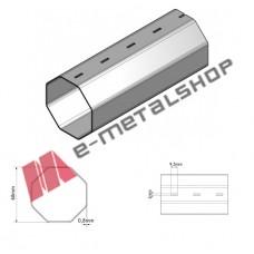 Οκτάγωνος άξονας για ρολά, γαλβανιζέ 60mm (Φ60) , πάχους 0,8mm (Τιμή μέτρου)