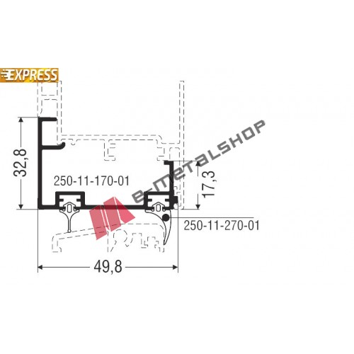Πρόσθετο αλουμινίου M9431 σειράς M9400 Comfort Alumil 2m