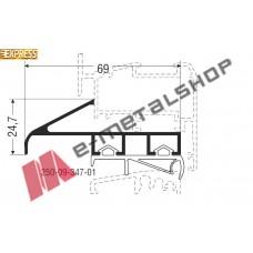 Πρόσθετο αλουμινίου M9437της σειράς M9400 Comfort Alumil 2m