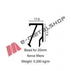 Πηχάκι για κολώνα 60x60 αλουμινίου για τάβλα 20mm 6060P2 (τιμή μέτρου)