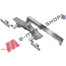 Σπανιολέτα συρόμενων διπλού κλειδώματος με μακριά λαβή happiness τύπου inox Security Lock-ασημί (400L)