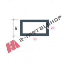 Σωληνωτό Ορθογώνιο(καρέ) S-30x20 Alumil 5m λευκό