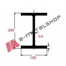 Η IPE Μαύρο 200x100x5.6mm 6m