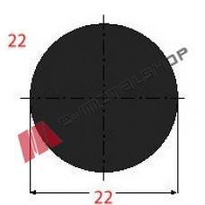 Μασίφ Στρογγυλό Μαύρο 22x22 6m (Φ22)