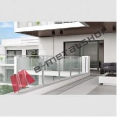 Σύστημα στήριξης γυάλινου στηθαίου με κολόνες και κουπαστή αλουμινίου MAKEDONIKI MS-200