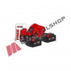 Σετ 2 μπαταρίες 18V 5.0Ah ,ταχυφορτιστής M12-18FC  Milwaukee M18™ NRG-502 (4933459217)+Δώρο M12™ 2.0 AH μπαταρία